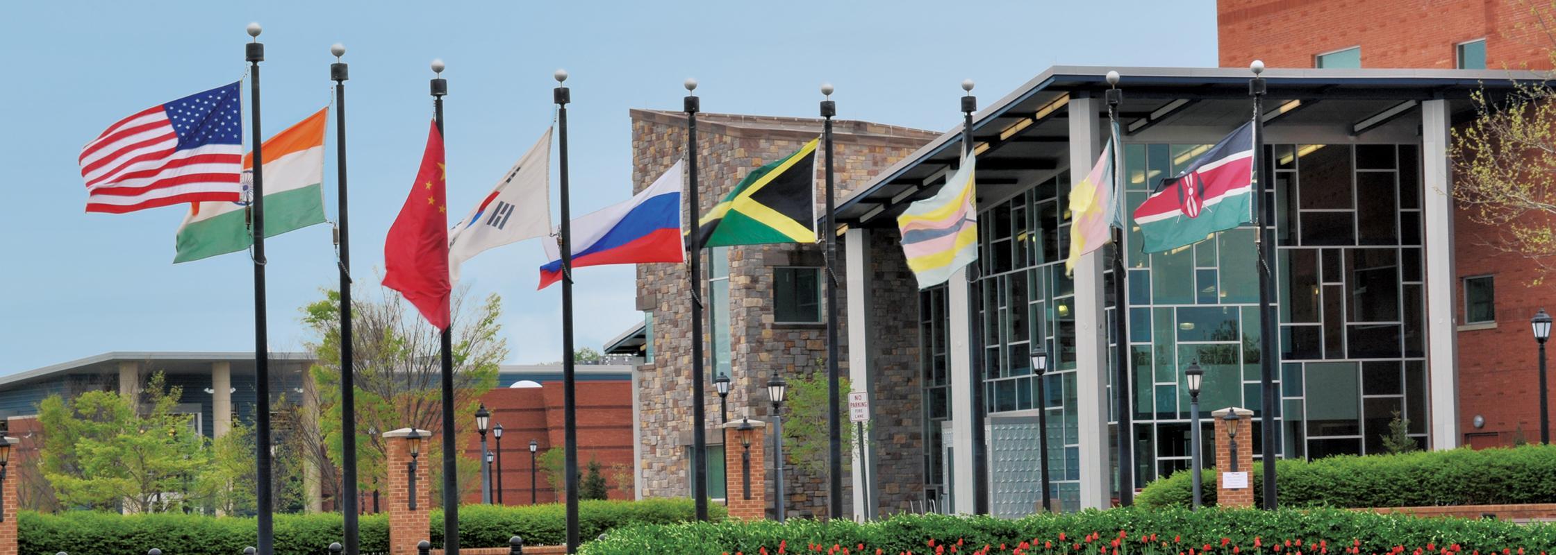International flags at DSU entrance