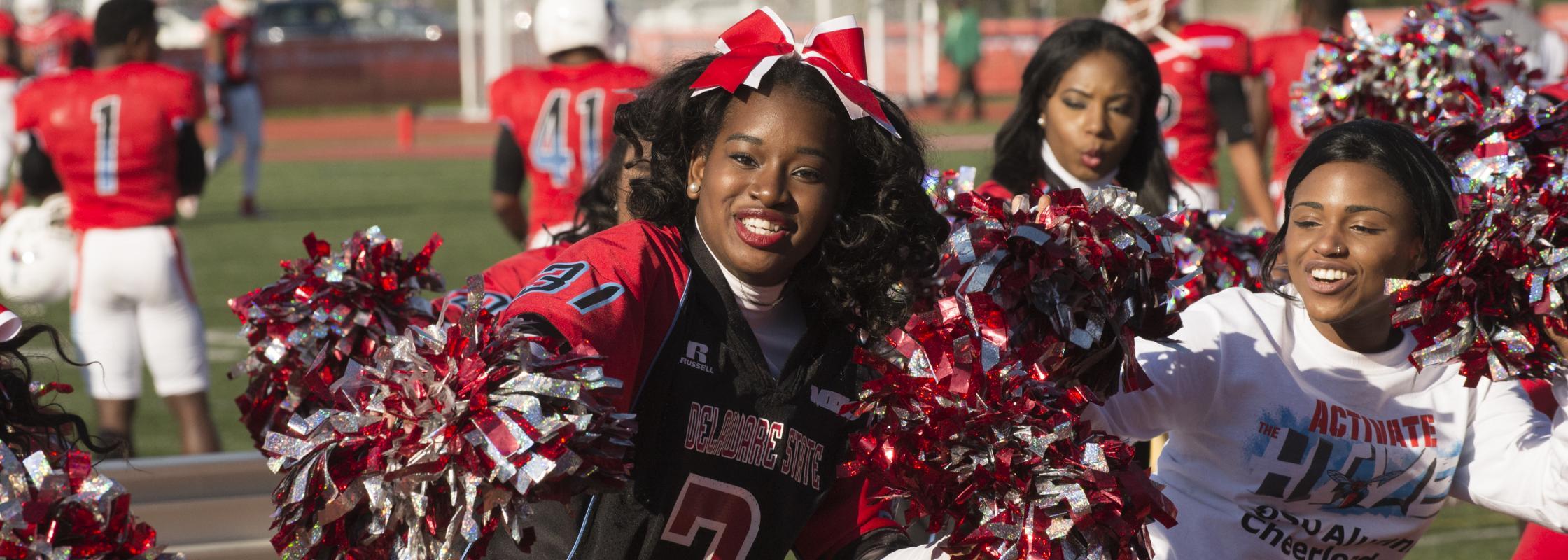 Cheerleaders at homecoming