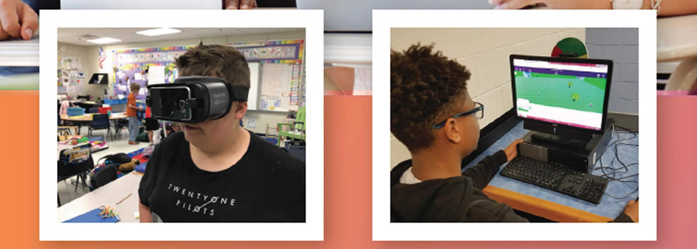 Students using virtual and augmented reality