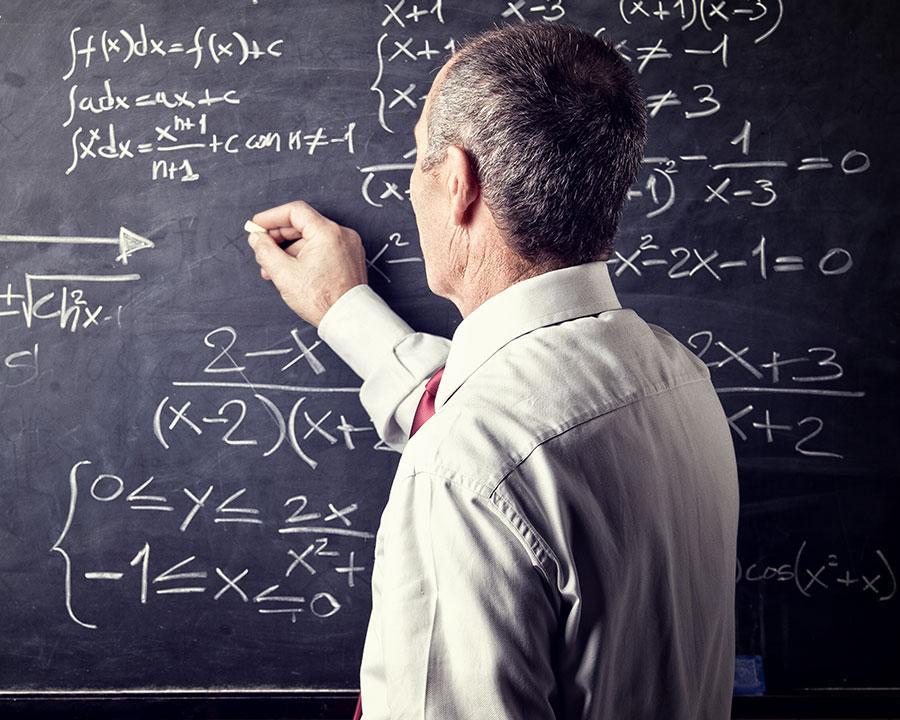 professor solving equations
