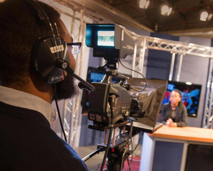 Filming in the WDSU studio