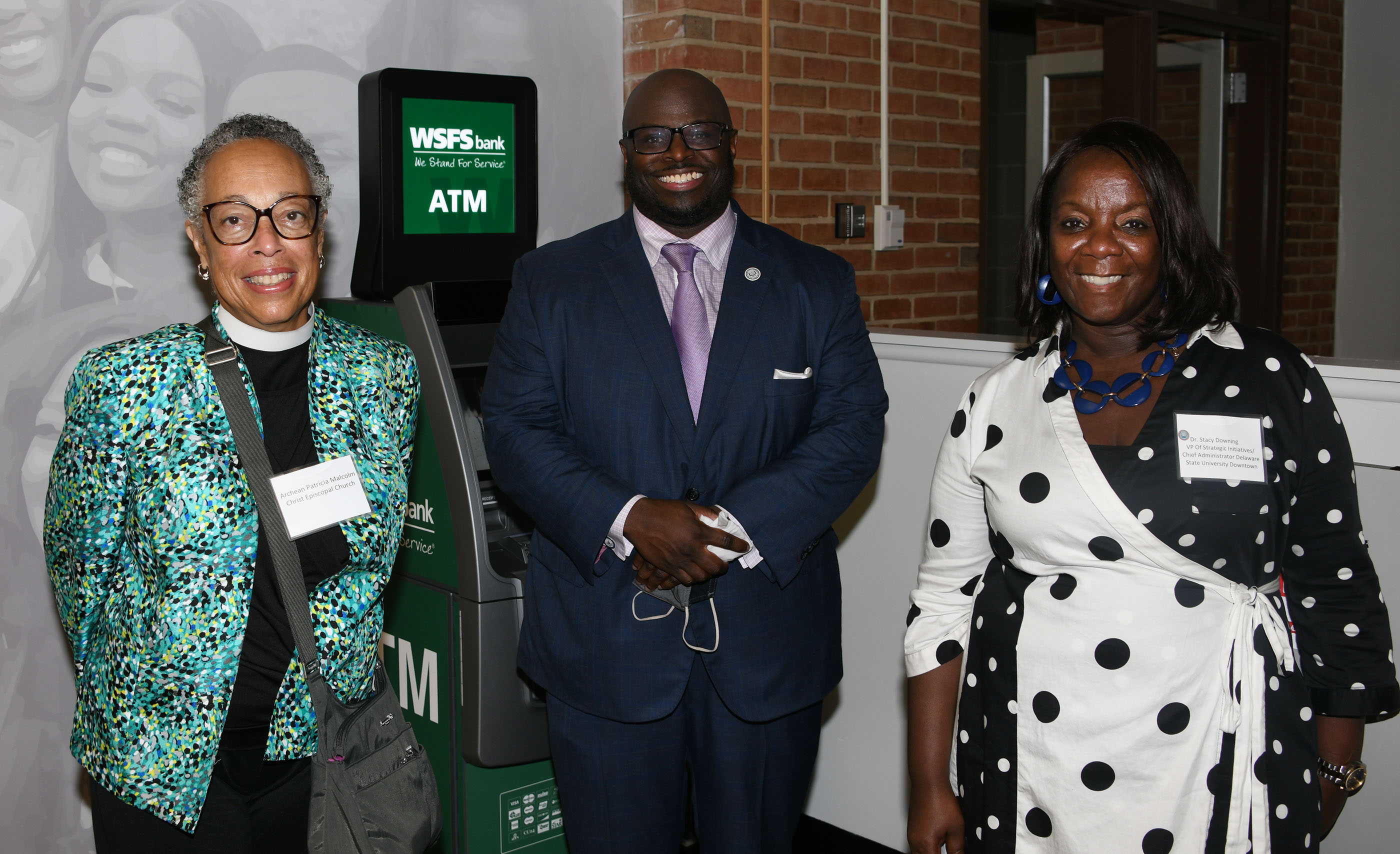 Patricia Malcome of Christ Episcopal Church, Del State's Dr. Tony Allen and Dr. Stacy Downing.