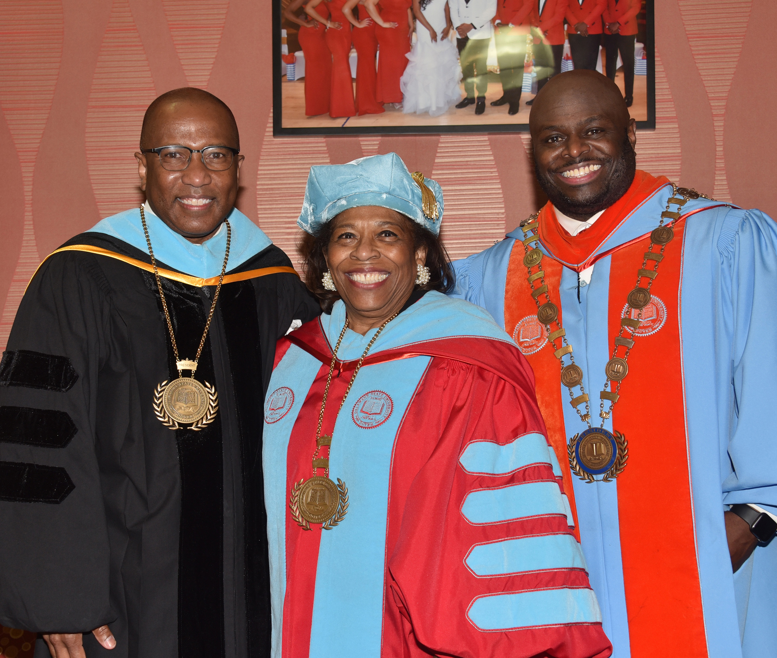 Three DSU president -- Dr. Harry L. Williams, Dr. Wilma Mishoe and Dr. Tony Allen were reunited during the May 8 Commencements.