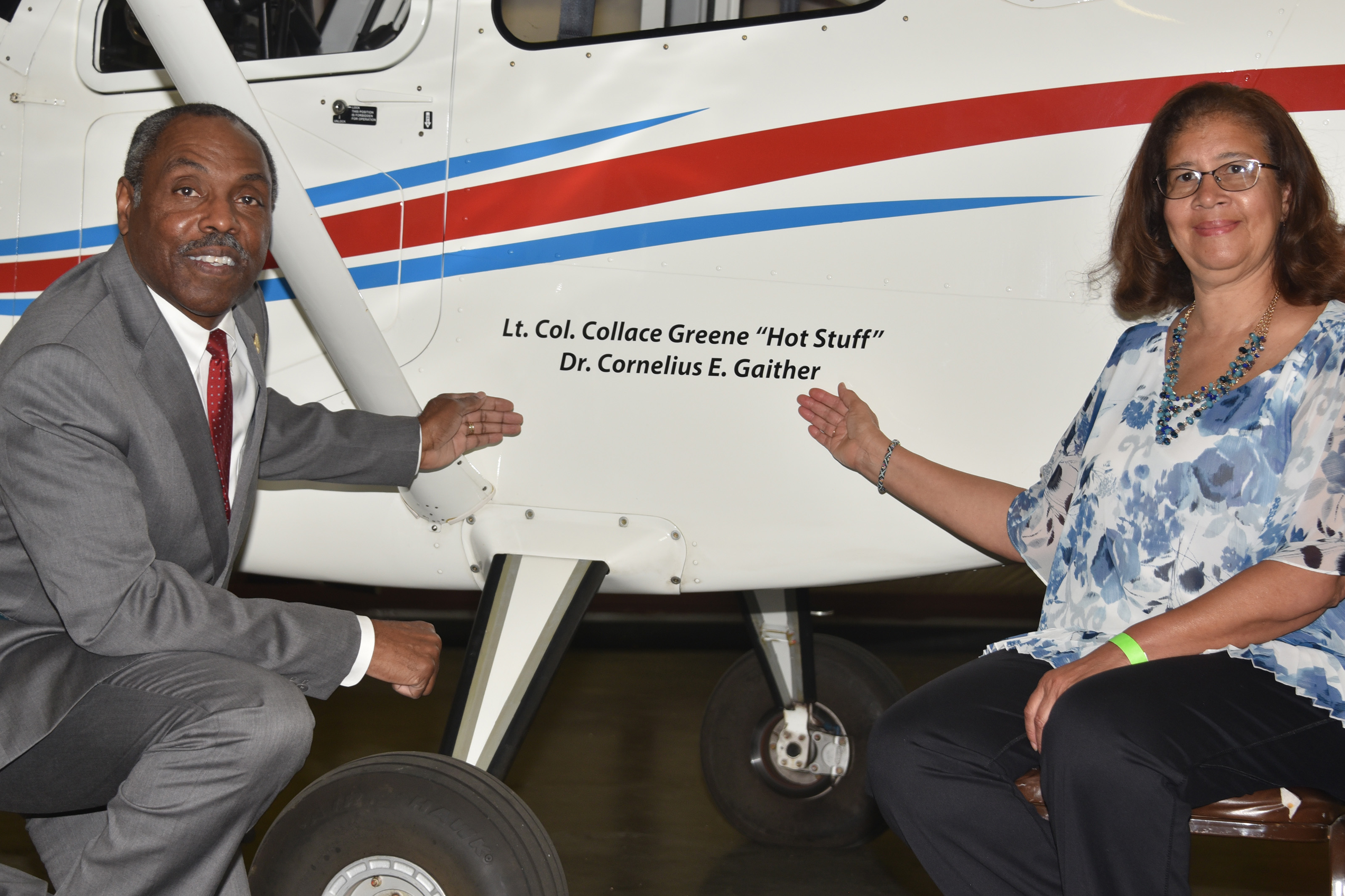 Dr. Collace Greene Jr. and Carol Clark pose at the Del State that has been renamed after their fathers.