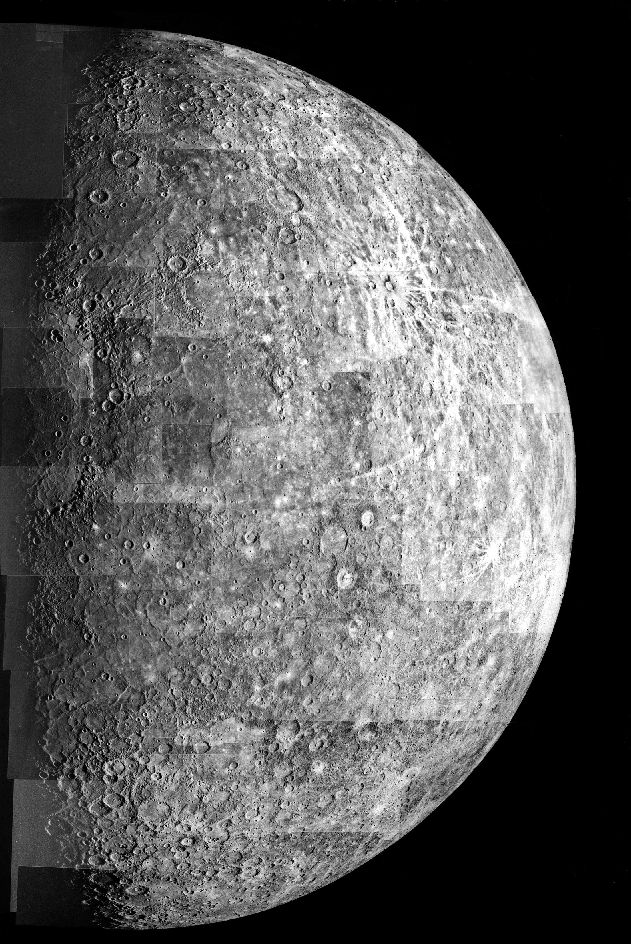 Photomosaic of Mercury - Outbound View. NASA/JPL