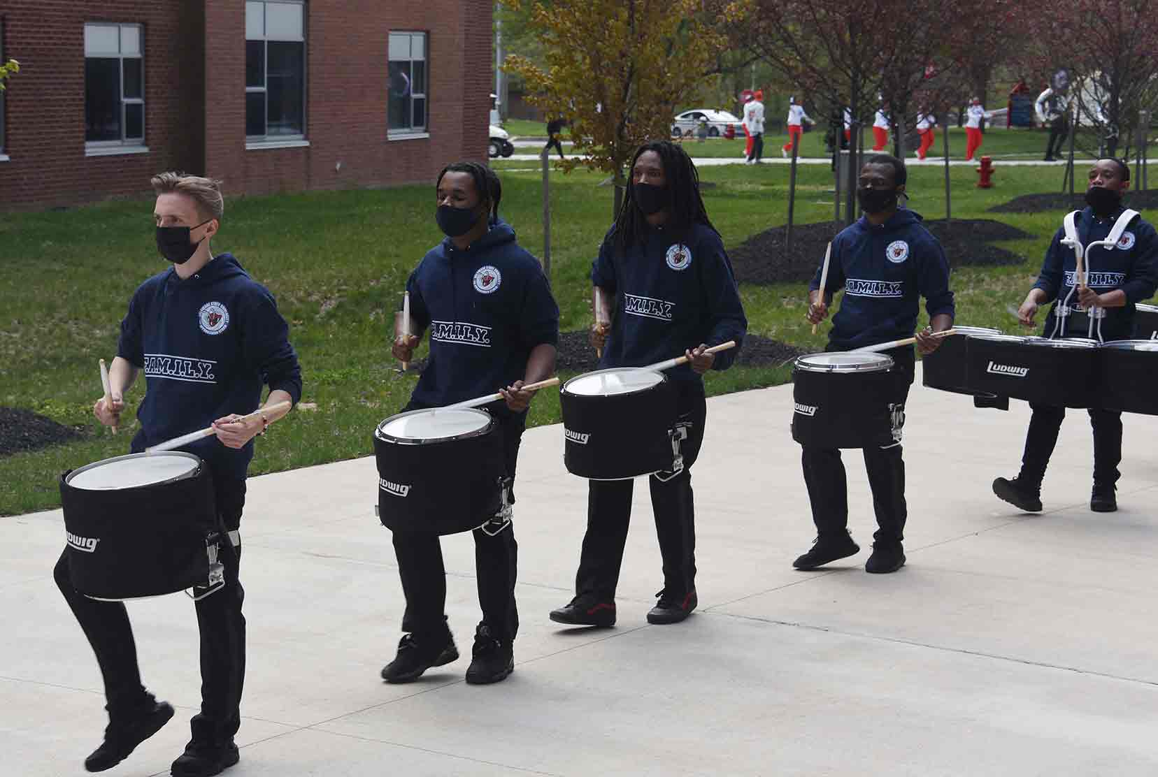 Marching band groups strut their stuff for 1st time in over a year