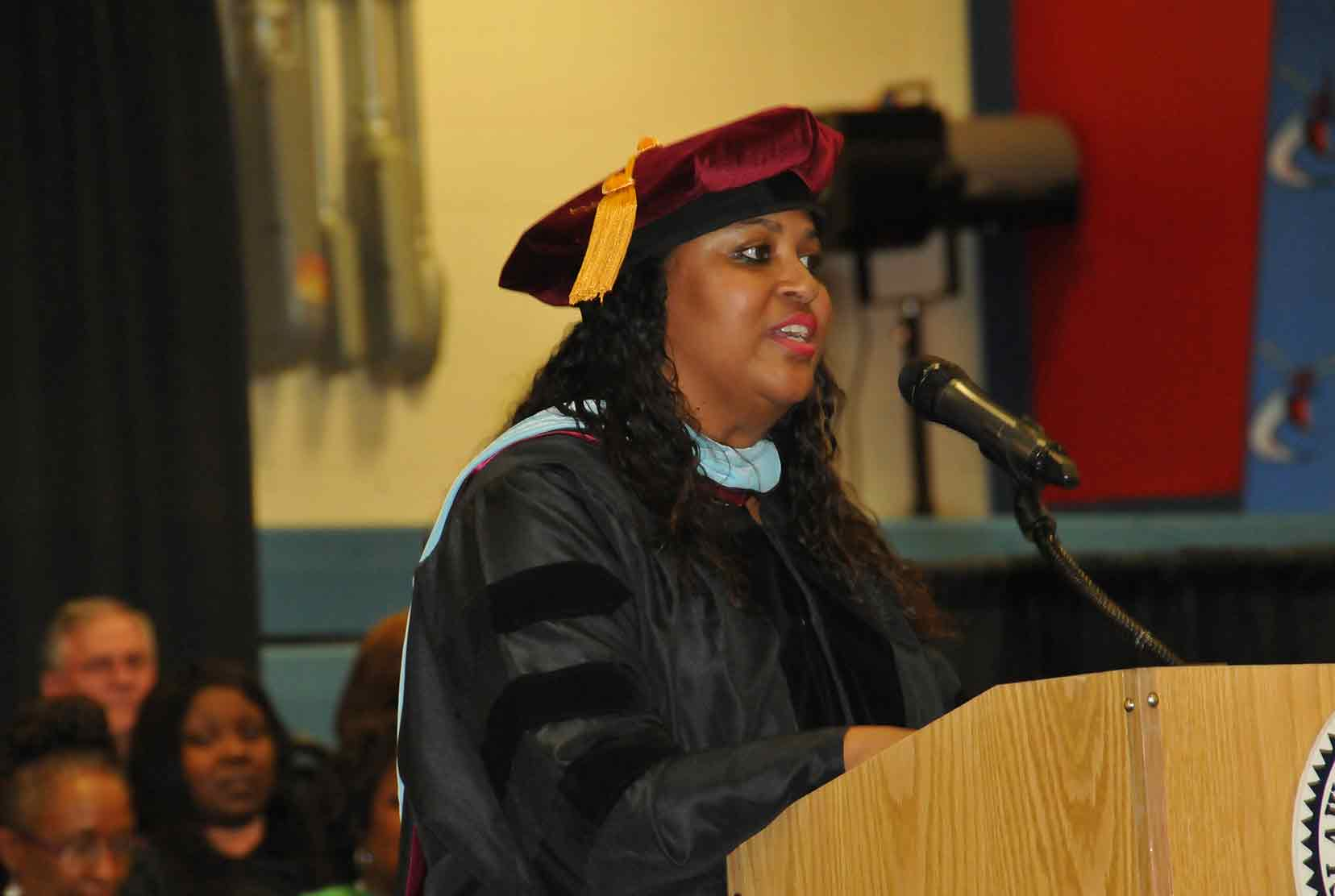 Dr. Evelyn Edney, Director of the University's Early College High School, shown here speaking at the school's first graduation ceremony in 2018, has been named as the 2021 Delaware Principal of the Year by the National Association of Secondary School Principals.