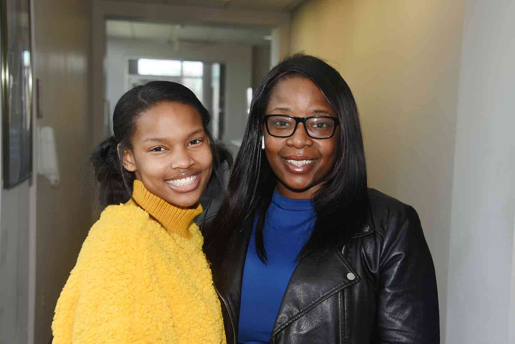 (L-r) Nia Allen. freshman, and Lindsey Hyppolite, Ph.D. candidate, both in Chemistry, are part of a team competing in a Sickle Cell Disease awareness competition conducted by the National Institute of Health. Not pictured: Joshua Patterson.