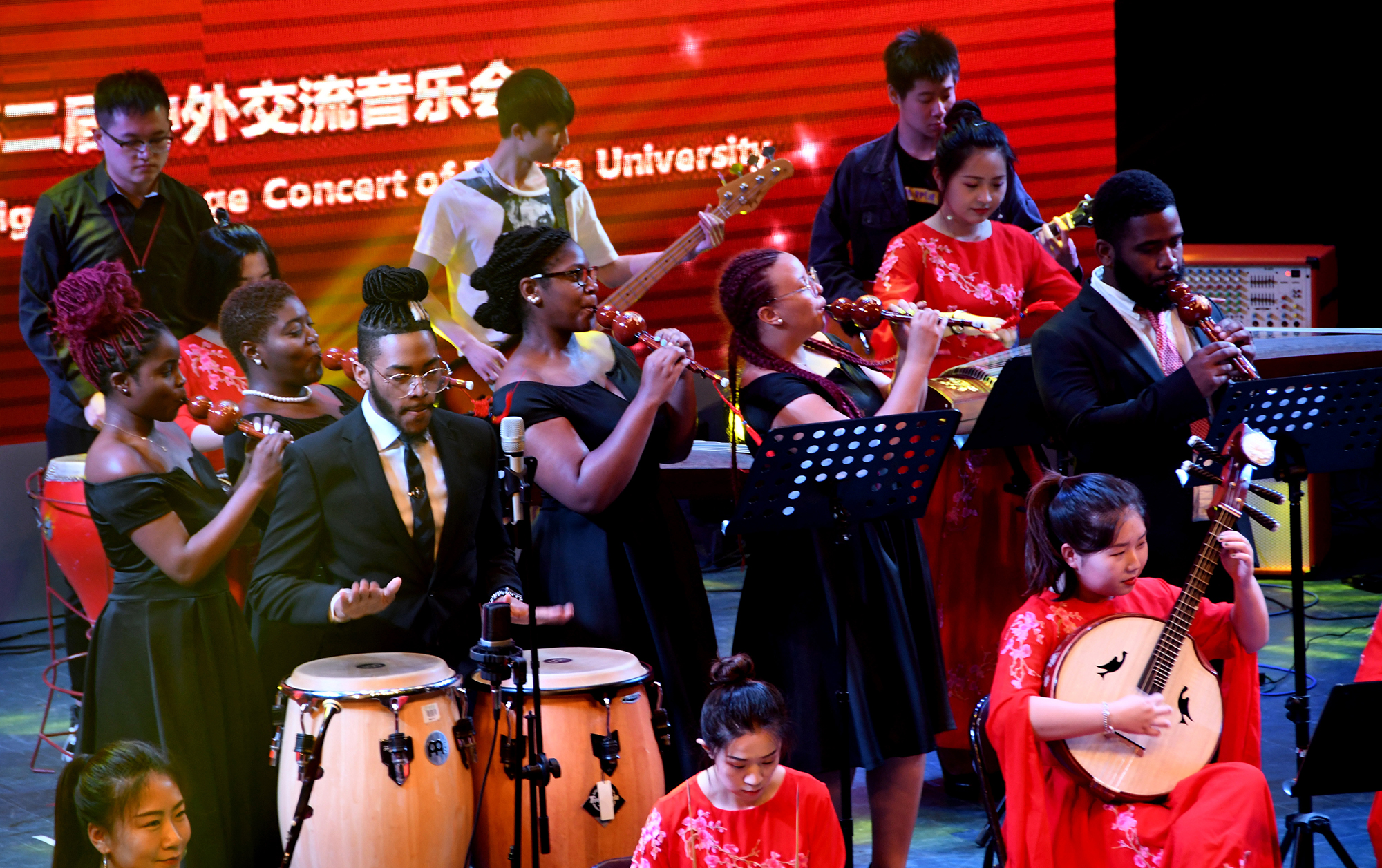 From left, DSU students Ashlyn Moore, Kiyah Mewborn, Darrell Miller, Jevana Lambert, Shaé Ross and Manuel Scott perform.