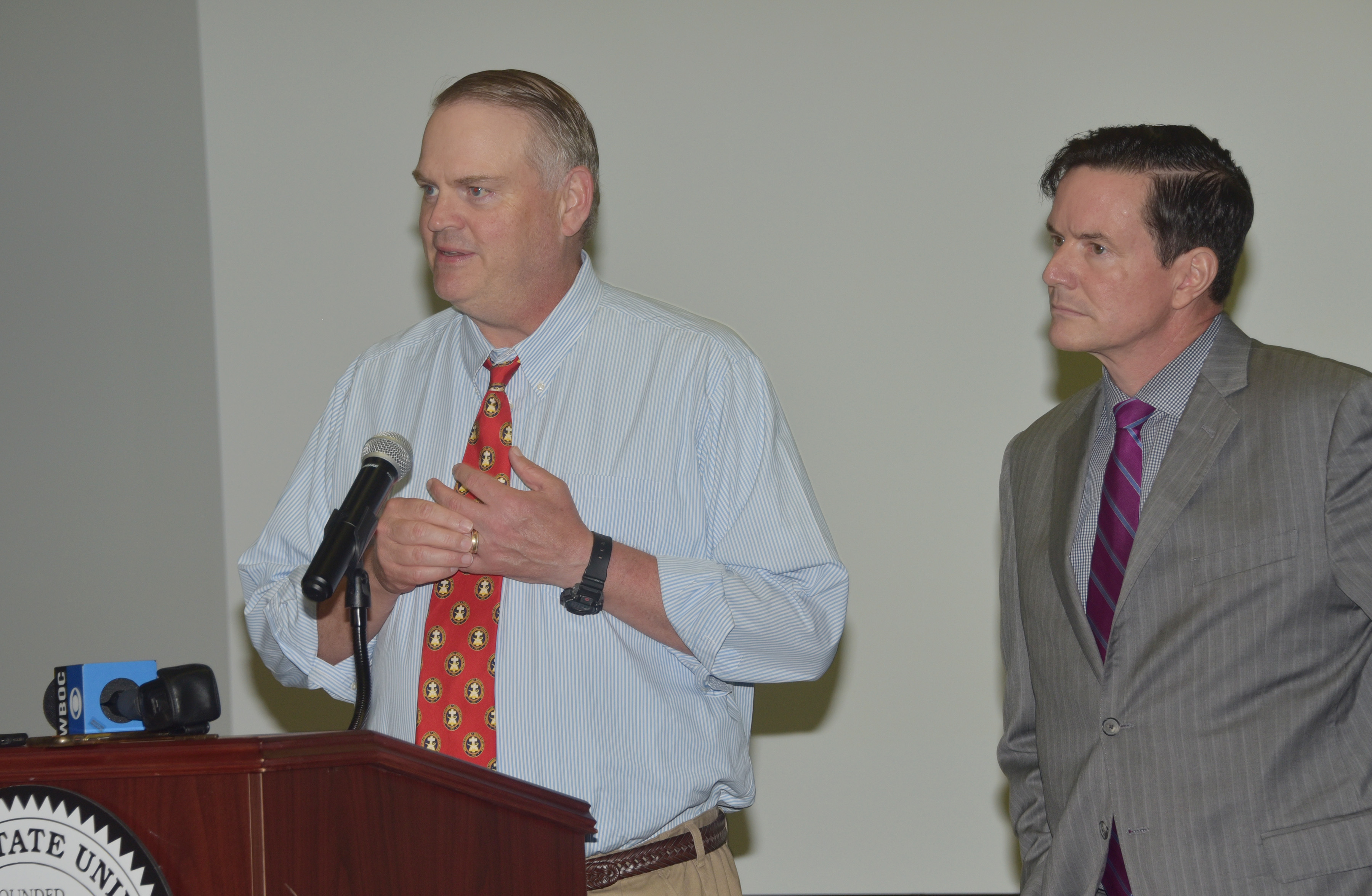 State Sens. Colin Bonini and Trey Paradee shared their support for the acquisition at the press conference.