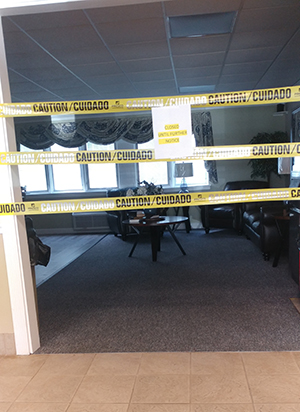 Clara Brand sent a picture of Luther Tower's closed dining area.