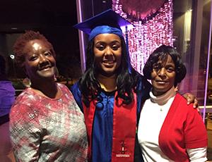 Dymeshia Finch (c) with her mother Delois Finch Douglas (l) and her grandmother Betty Doris Finch Thomas at her BSW graudation.
