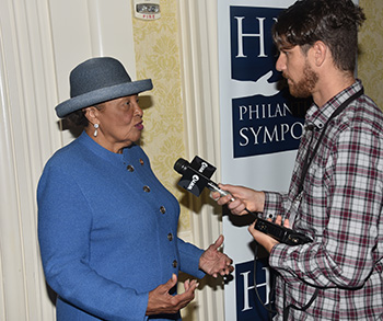 Rep. Alma Adams does an interview with WHYY reporter Mark Eichhorn.