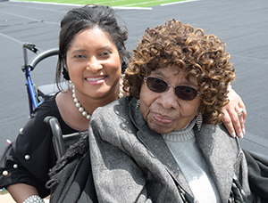 (L-r) MarquitaThomas Brown spends time with the oldest living DSU alumna -- 104-year-old Courtney Stevenson.