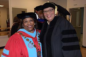 (L-r) University President Wilma Mishoe poses with the keynote speaker, U.S. Congresswoman Alma Adams.
