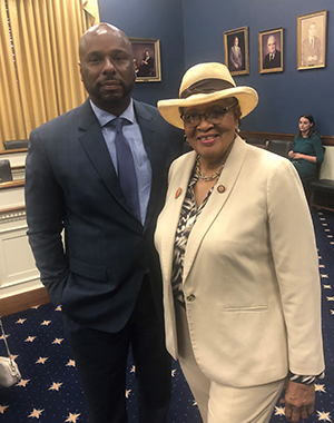 Dr. Michael Casson with U.S. Rep. Alma Adams, a member of the subcommittee; she will also be the Commencement keynote speaker.