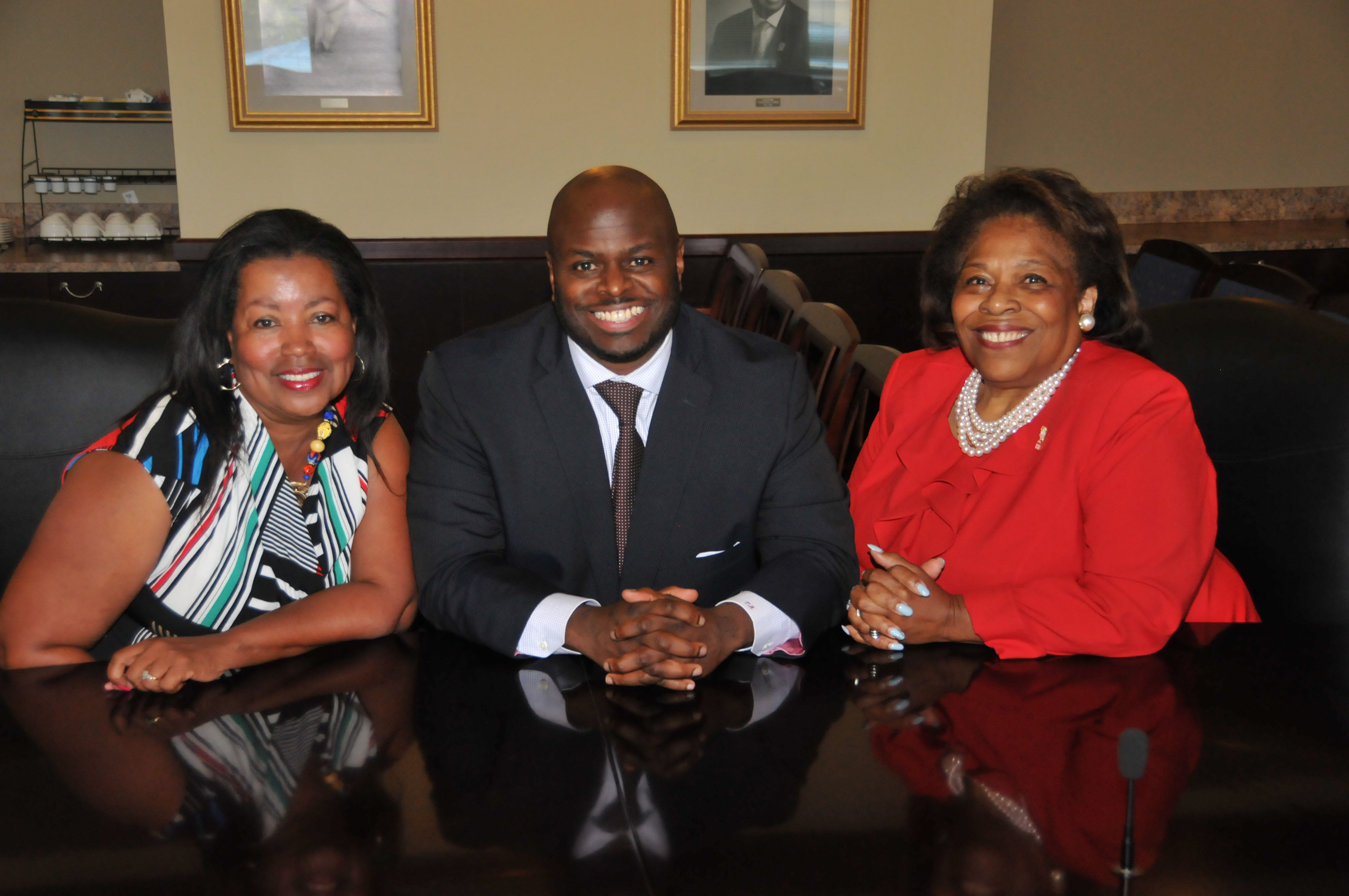 Board Vice Chair Dr. Devona Williams, Provost Dr. Tony Allen and Board Chair Dr. Wilma Mishoe.