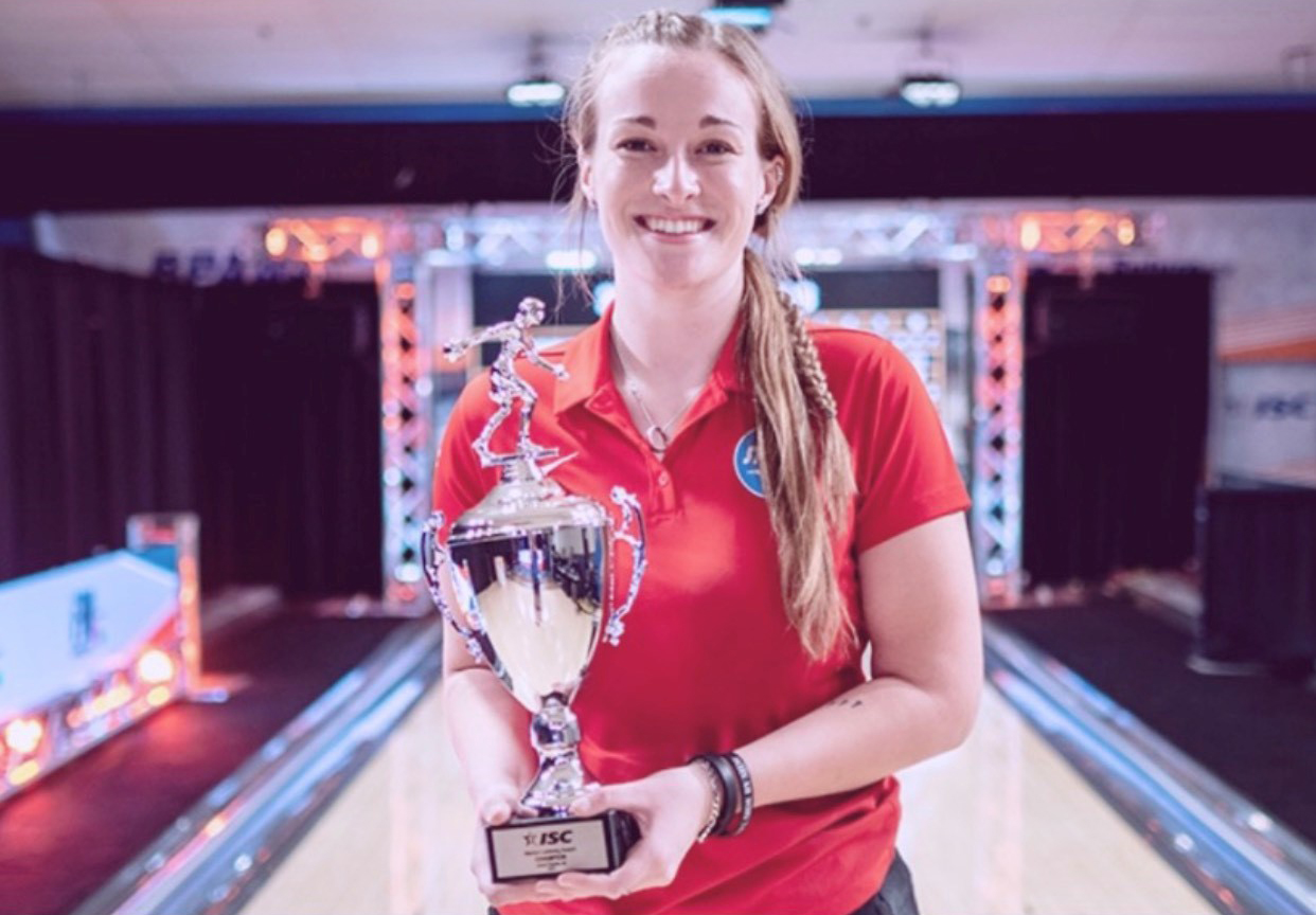 Katie Robb with her U.S. Bowling Congress Intercollegiate Singles National Championship trophy.