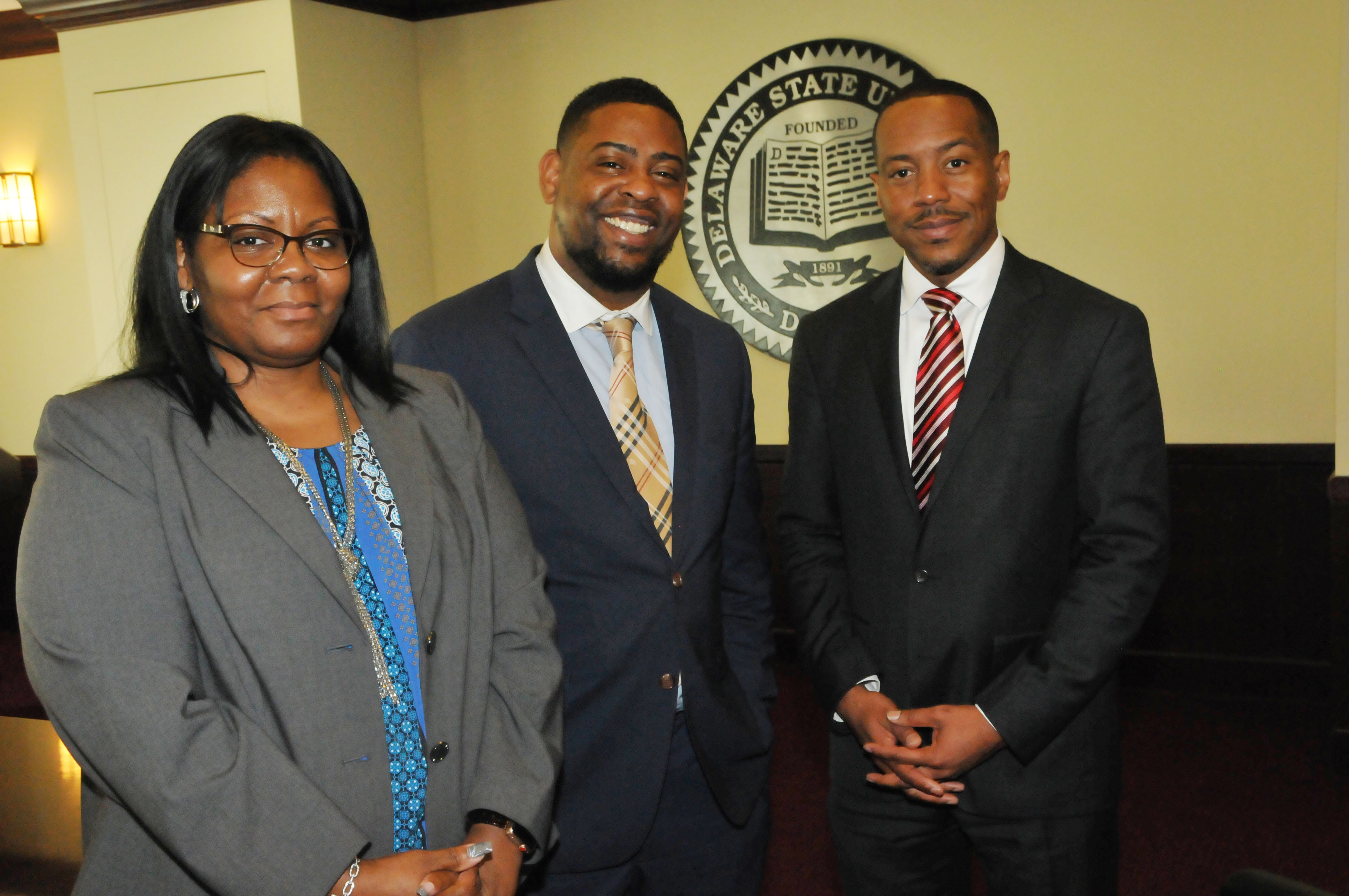 New Enrollment Management leadership: (l-r) Toshia Williams, executive director of Student Accounts; Al Dorsett, executive director of Financial Aid; and Kareem McLemore, executive director of Admissions. They will all report directly to Antonio Boyle, vice president of Enrollment Management.
