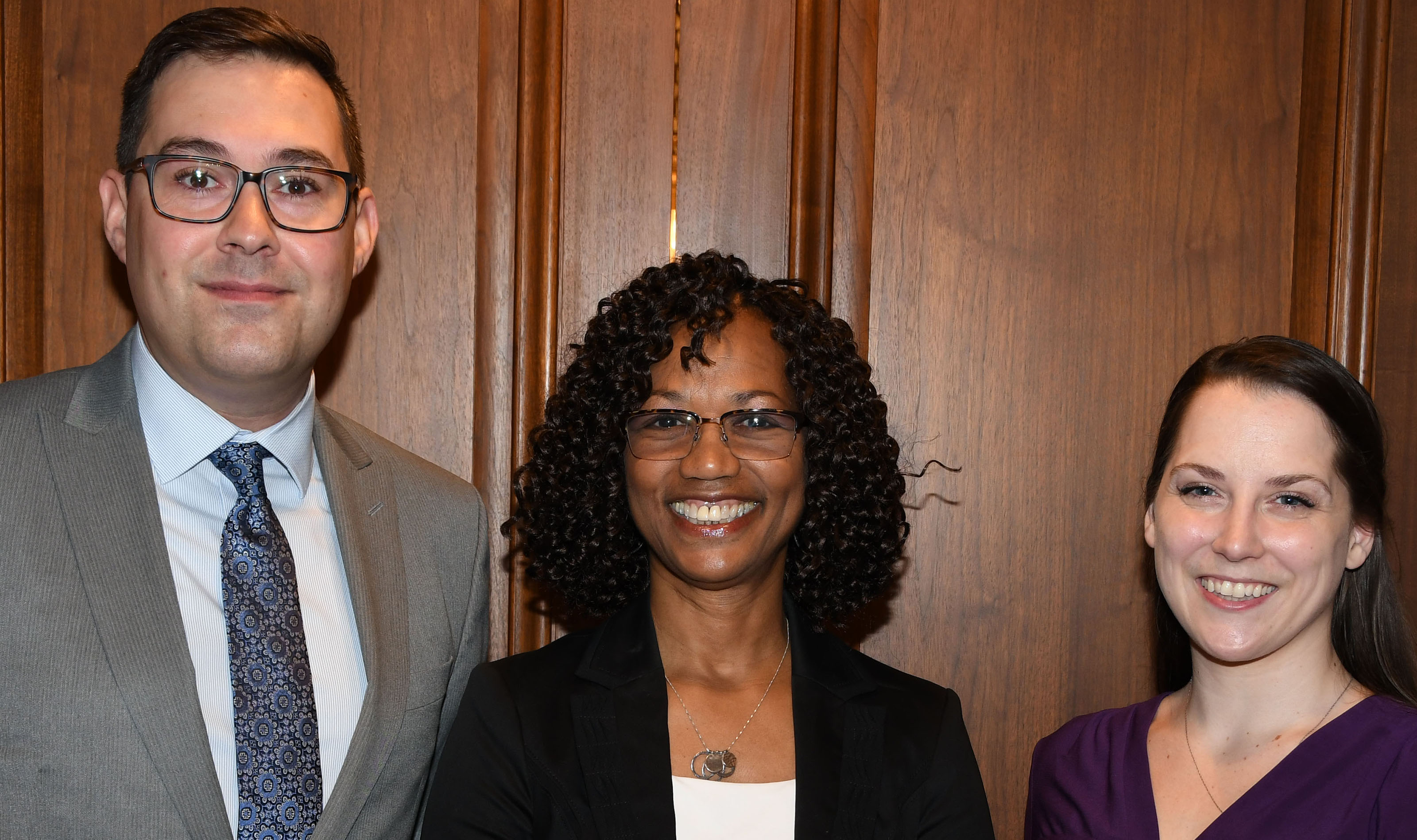 Dr. Sheridan Kingsberry (center), Delaware's 2018 Social Worker of the Year, poses with Michael Francum (l), executive director of the Delaware Chapter of the National Association of Social Workers, and Shannon Fisch, the president of the NASW-DE Board of Directors.