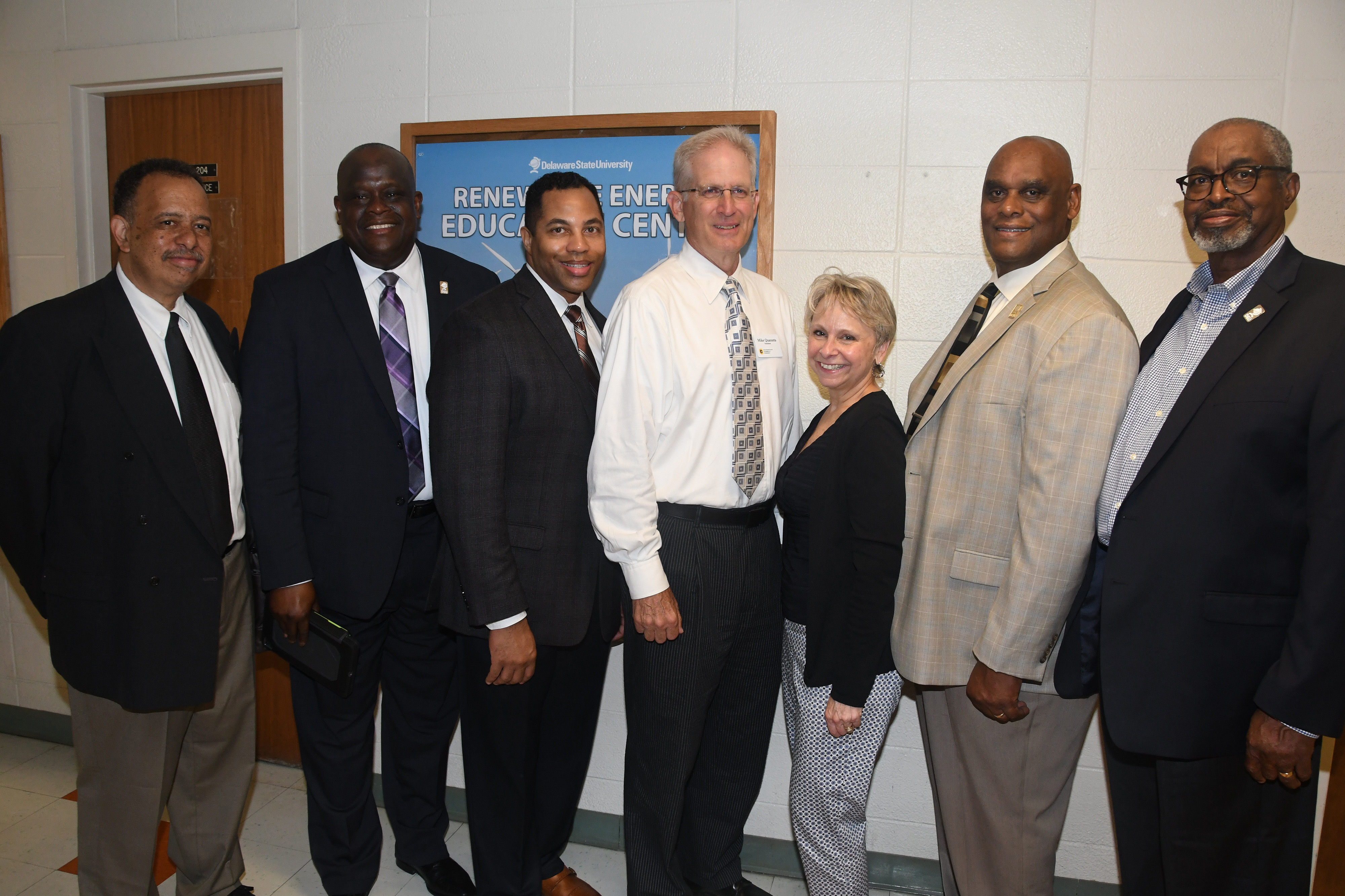 L-r) DSU's Dr. Eric Cheek, assoc. VP of Continuing Ed; Antonio Boyle, VP of Strategic Enrollment; LaShawne Pryor; director of corporations/foundations; Delaware State Chamber of Commerce President Mike Quaranta and Central Delaware Chamber of Commerce President Judy Diogo; along with DSU's William Pickrum, REEC project management; and Dr. Dyremple Marsh, dean of the College of Agriculture, Science and Technology.