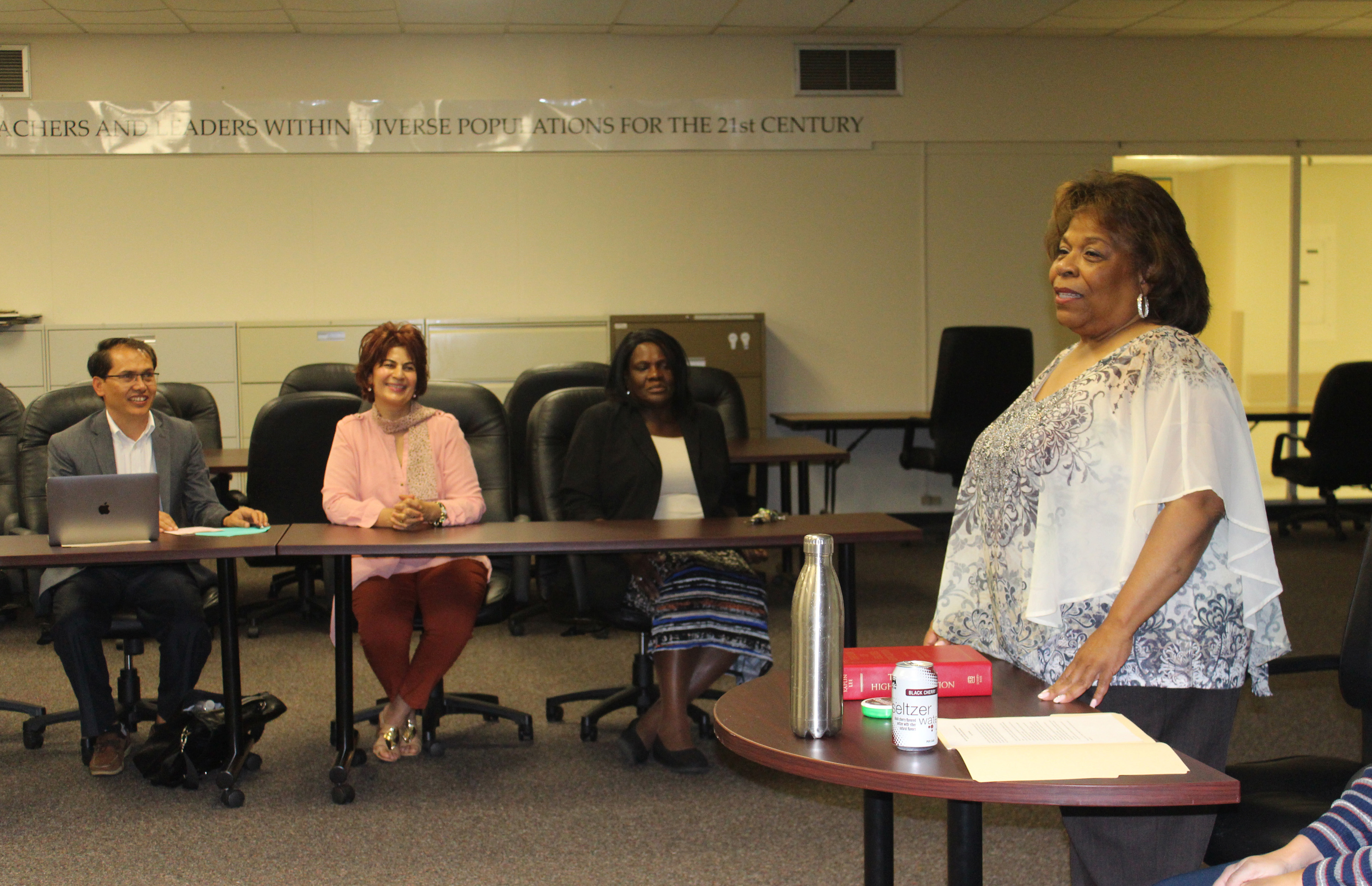 University President Wilma Mishoe shares her experience in policy development and implementation with a class of Delaware State University doctoral candidates.