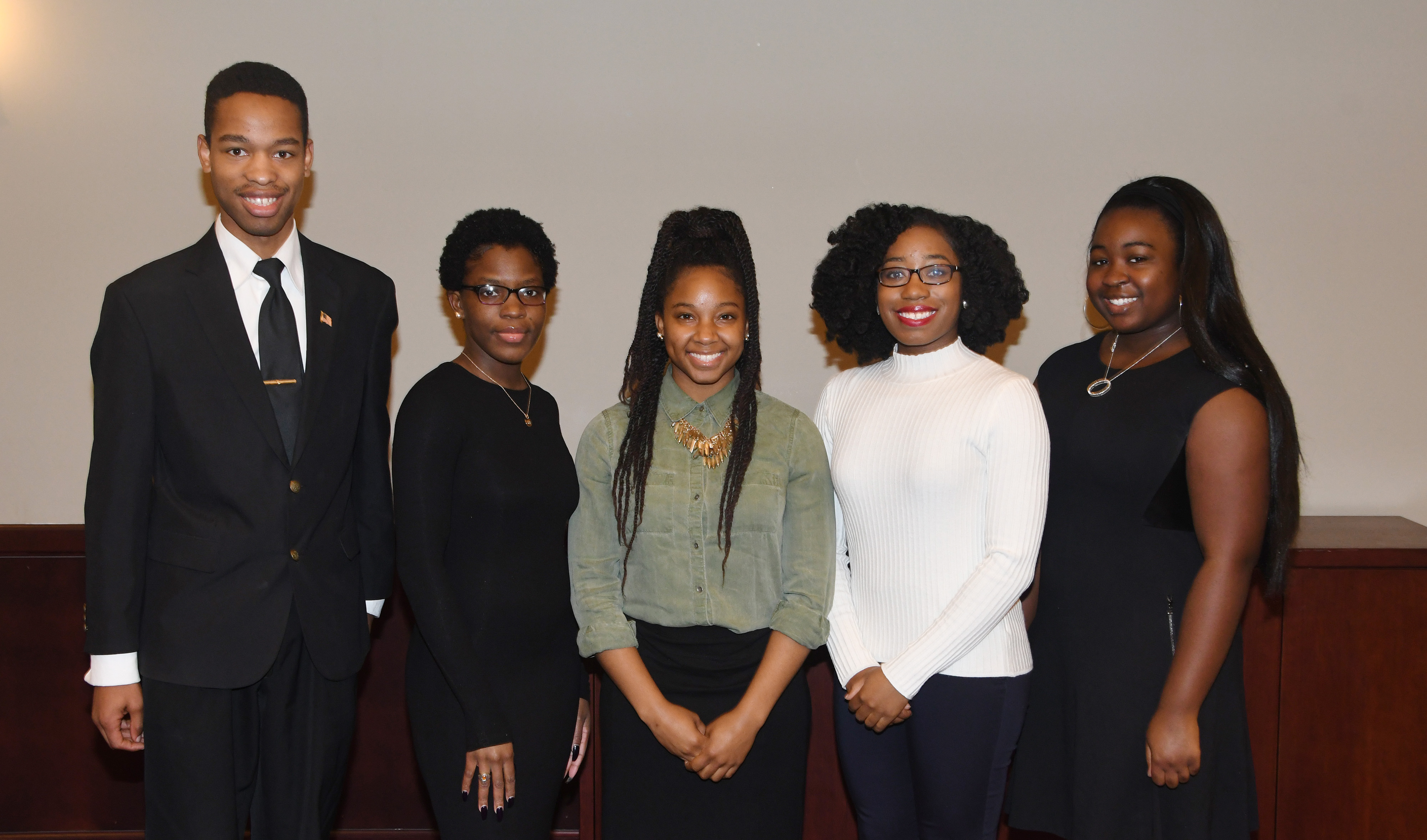 Delaware State University winners at a recent Philadelphia AMP research competition: (l-r) 1st Place Winners Joshua Patterson and Destiny J. Davis; 3rd Place Winner Erykah Leno; and Honorable Mentions Malia Green and Aysiah Stamper. Not pictured is 3rd Place Winner Norwoh Kemokai.