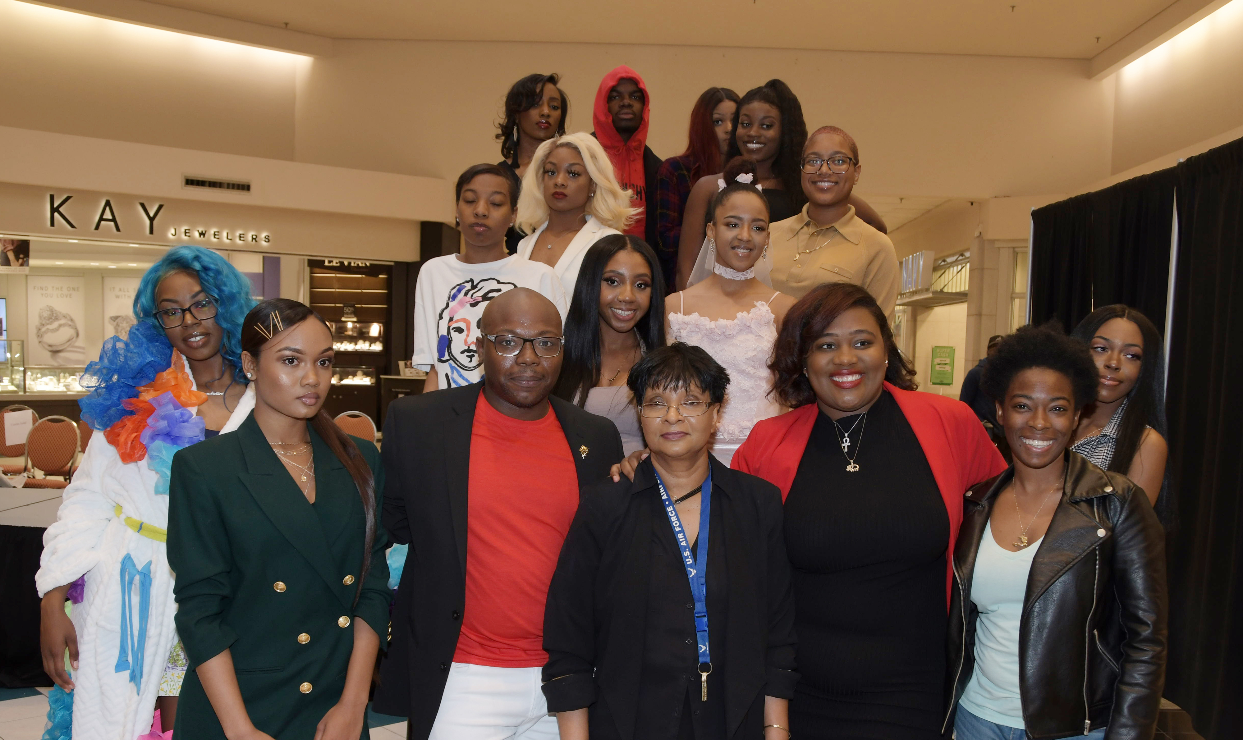 These Textile and Apparel Studies students showed off their fashion designing creations during a April 27 show at the Dover Mall. Dr. Damayanthie Eluwawalage, assistant professor, (bottom row, third from the left), was so impressed by their work, she persuaded the Dover Mall executives to allow student to put on a fashion show there for the public.
