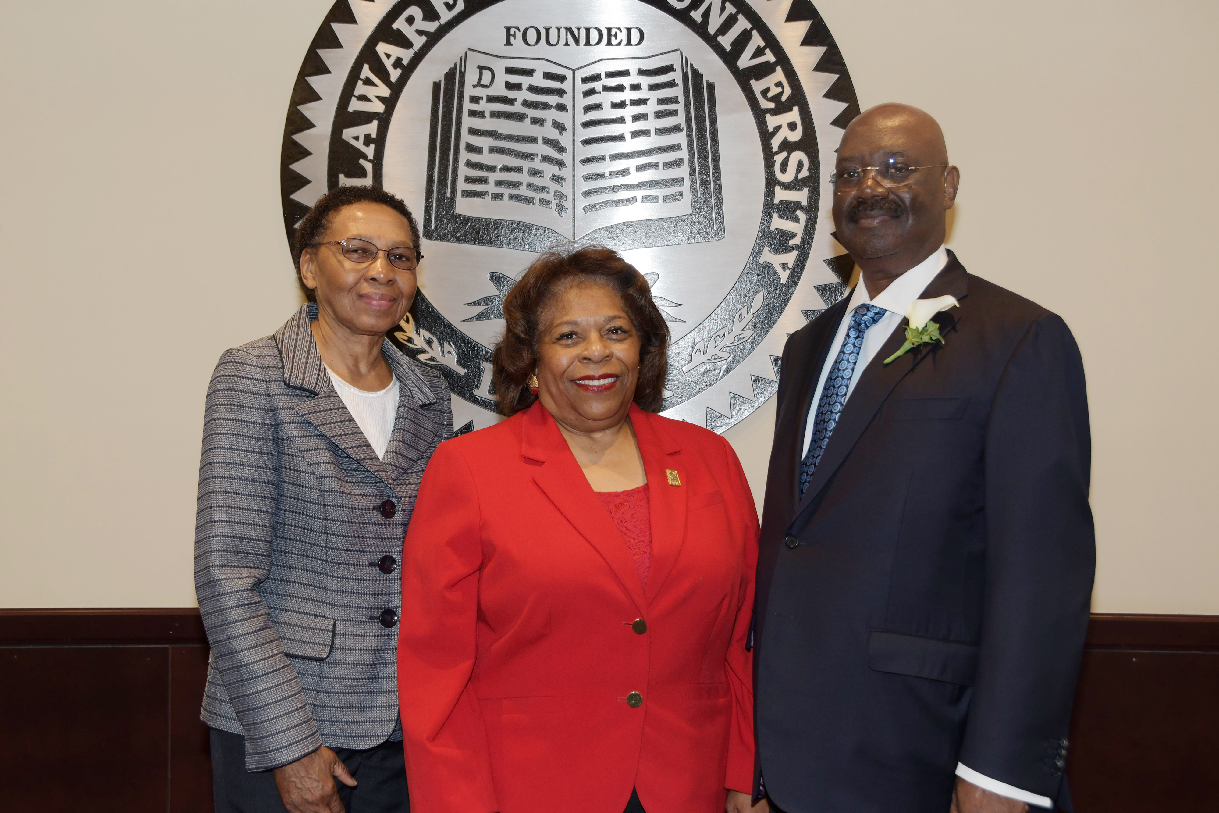 University President Wilma Mishoe poses with Shirley and Bennie Smith after the couple added an additional $20,000 to the scholarship endowment they established in 2017.