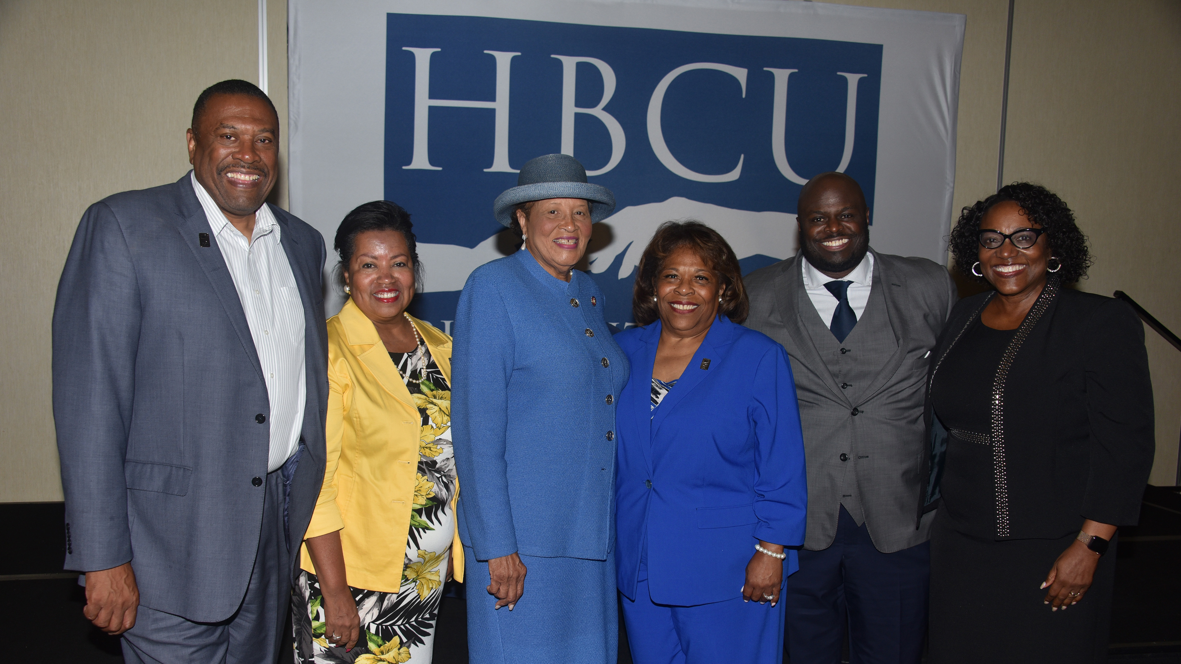 (L-r) John Ridgeway and Dr. Devona Williams, University Board vice chair and chair, respectively, keynote speaker U.S. Rep. Alma Adams, University President Wilma Mishoe, Provost Tony Allen, and Dr. Vita Pickrum, vice president of Institutional Advancement, take a photo moment at the 9th annual Philanthropy Symposium hosted by Delaware State University.
