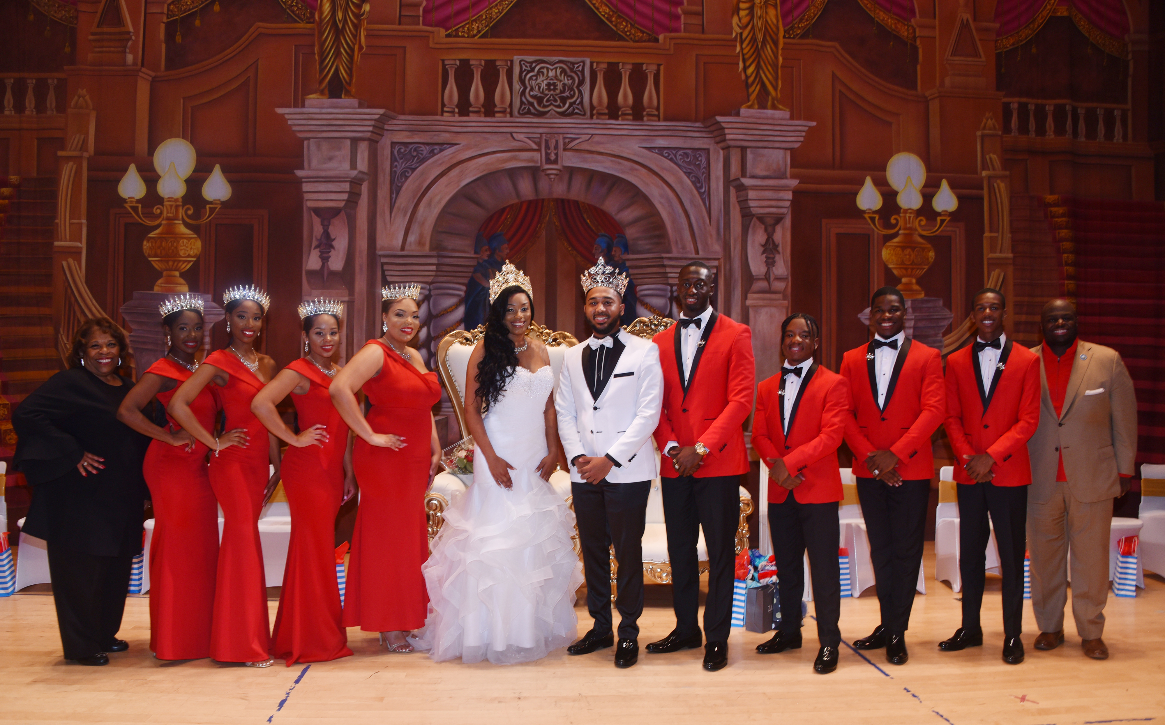 Miss and Mr. Delaware State University with their Royal Court and University President Wilma Mishoe and Provost Tony Allen
