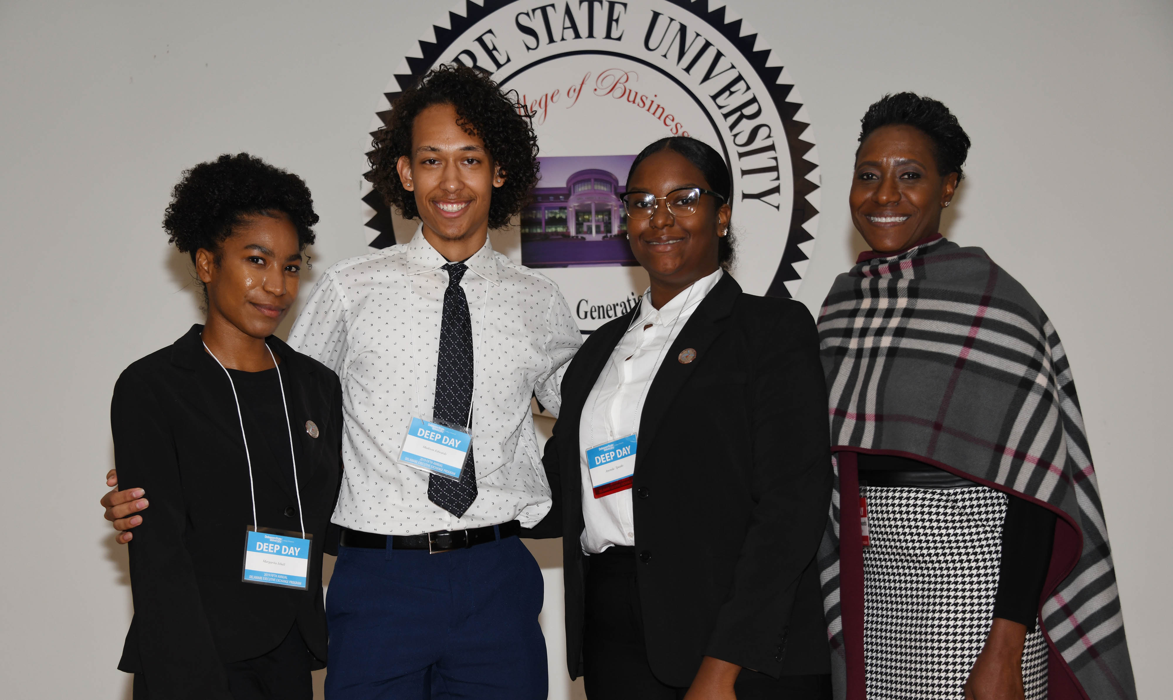The Edwards Team won first place in the 2019 DEEP Day Business Case Competition. (L-r) Margarita Isbell, Madison Edwards, Anonda Speaks, and their coach Dr. Francine Edwards, dean of the College of Humanities, Education and Social Science.