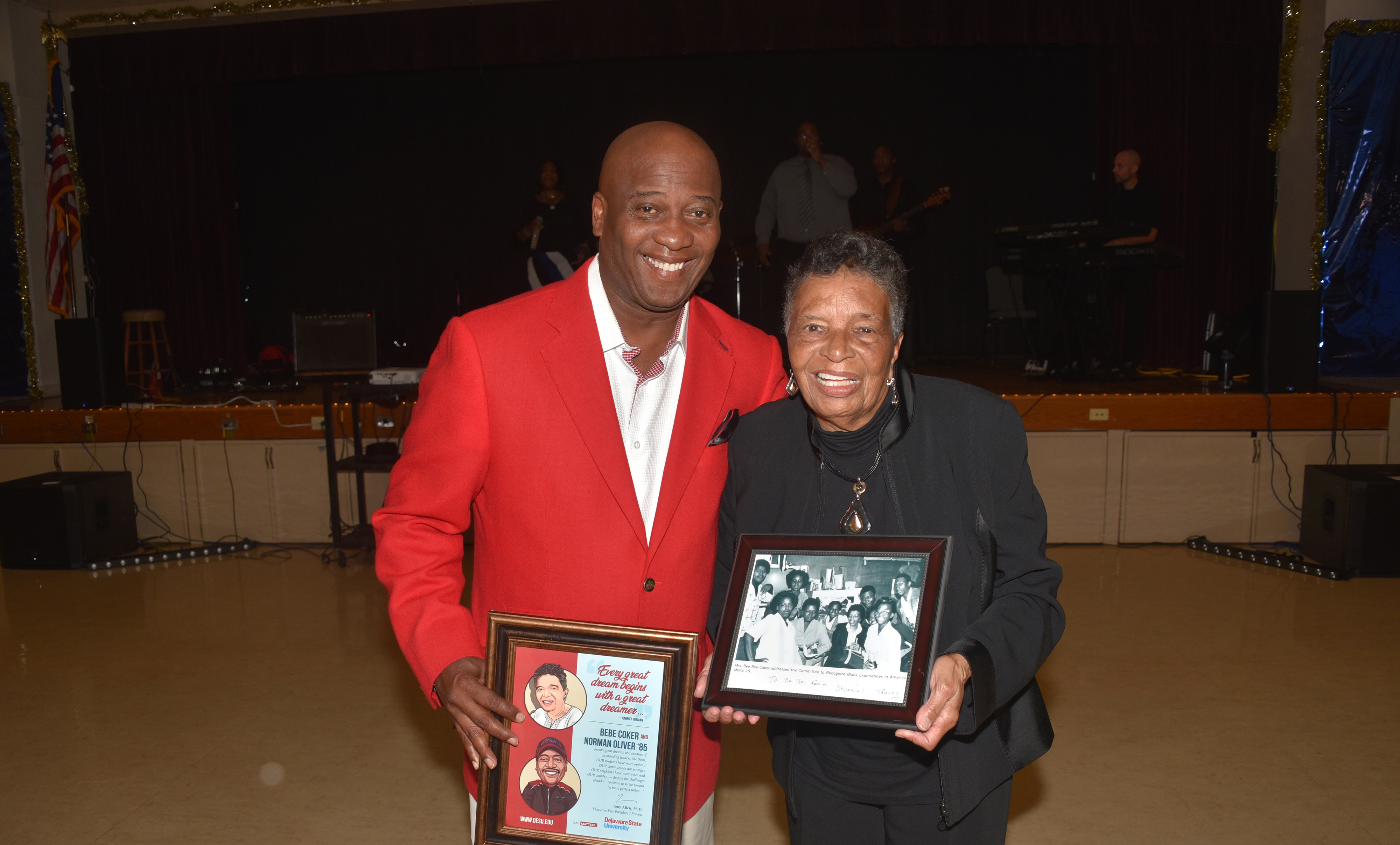 Norman Oliver and Dr. Bebe Coker each received the Early College High School's Honoring Our Legacy Award during the charter school's Oct. 25 annual fundraising dinner.