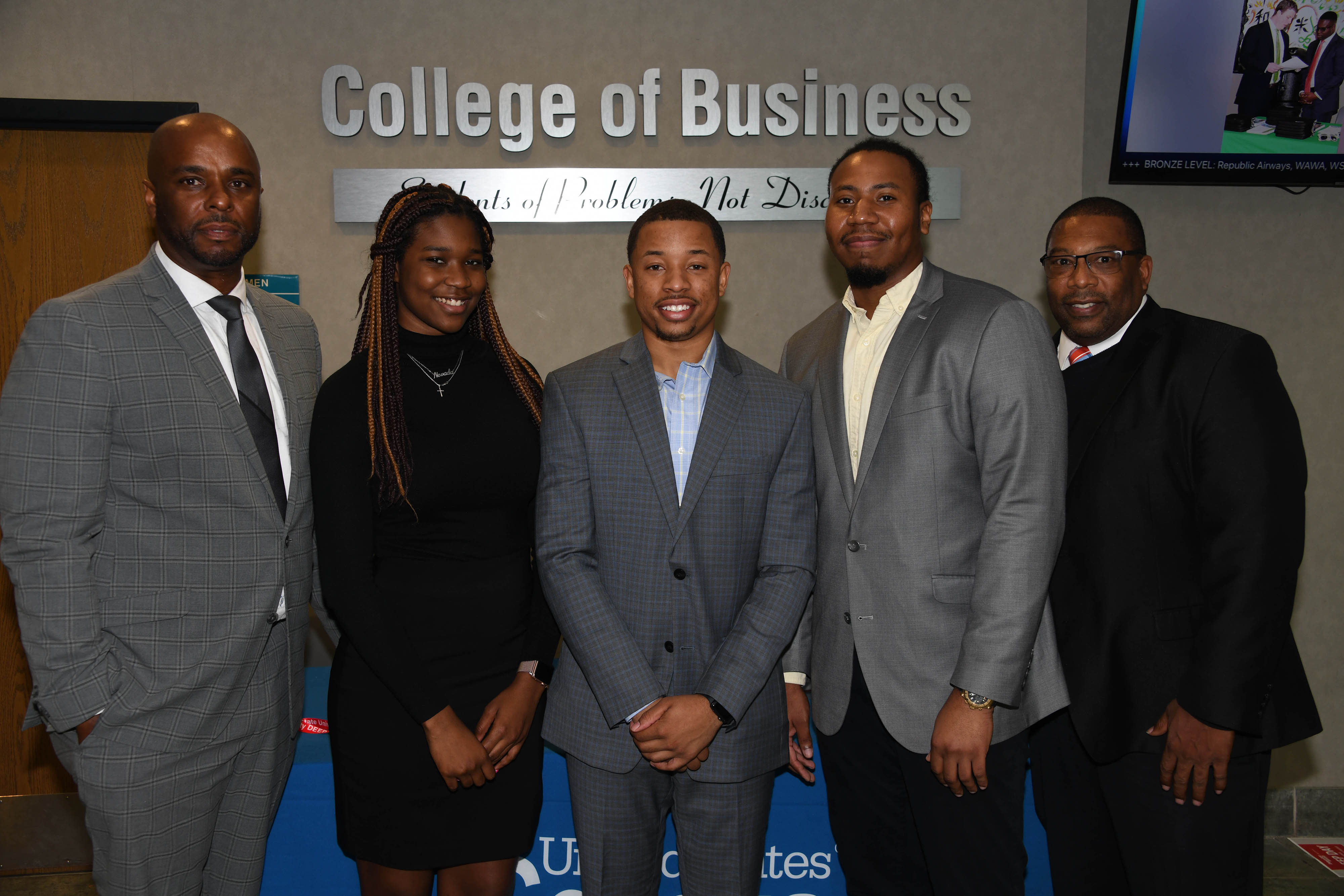 Dr. Michael Casson Jr., dean of the College of Business, stands with students Yazmin Harris, Jason Nunley, and Michael Ford and Associate Professor Wade Robinson, who all attended the recent International Economic Development Council Conference in Indianapolis, Ind.