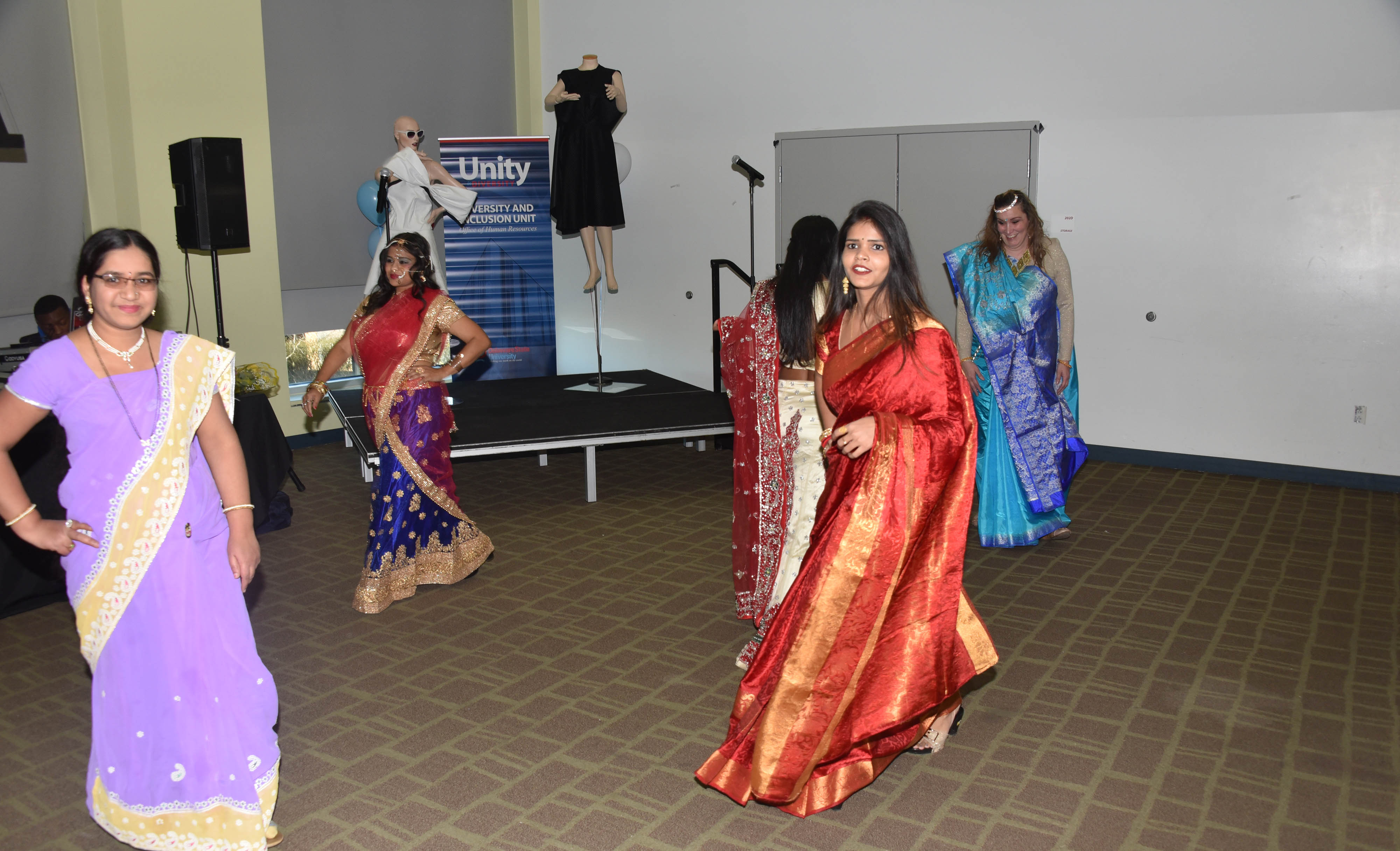 A group of East Indian women performed a dance and fashion presentation during the 2019 Unity Day events in the MLK Jr. Student Center.