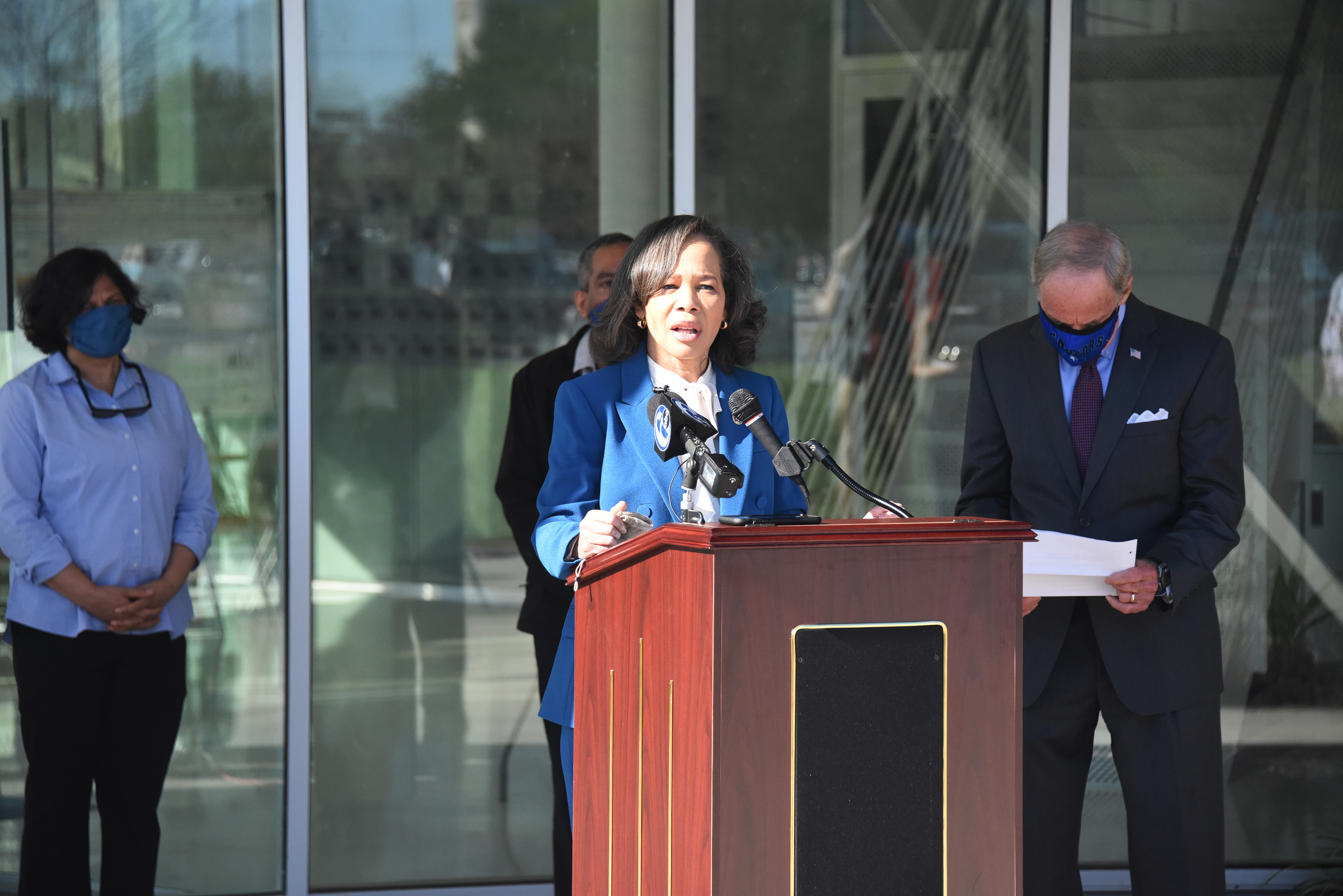 U.S. Rep. Lisa Blunt Rochester speaks during a visit by the Congressional Delegation to celebrate the Department of Defense grant award to Del State to establish a Quantum Sensing Center on campus. In the background (l-r) are the center's co-directors Dr. Renu Tripathi and Dr. Gour Pati, as well as U.S. Sen. Tom Carper.