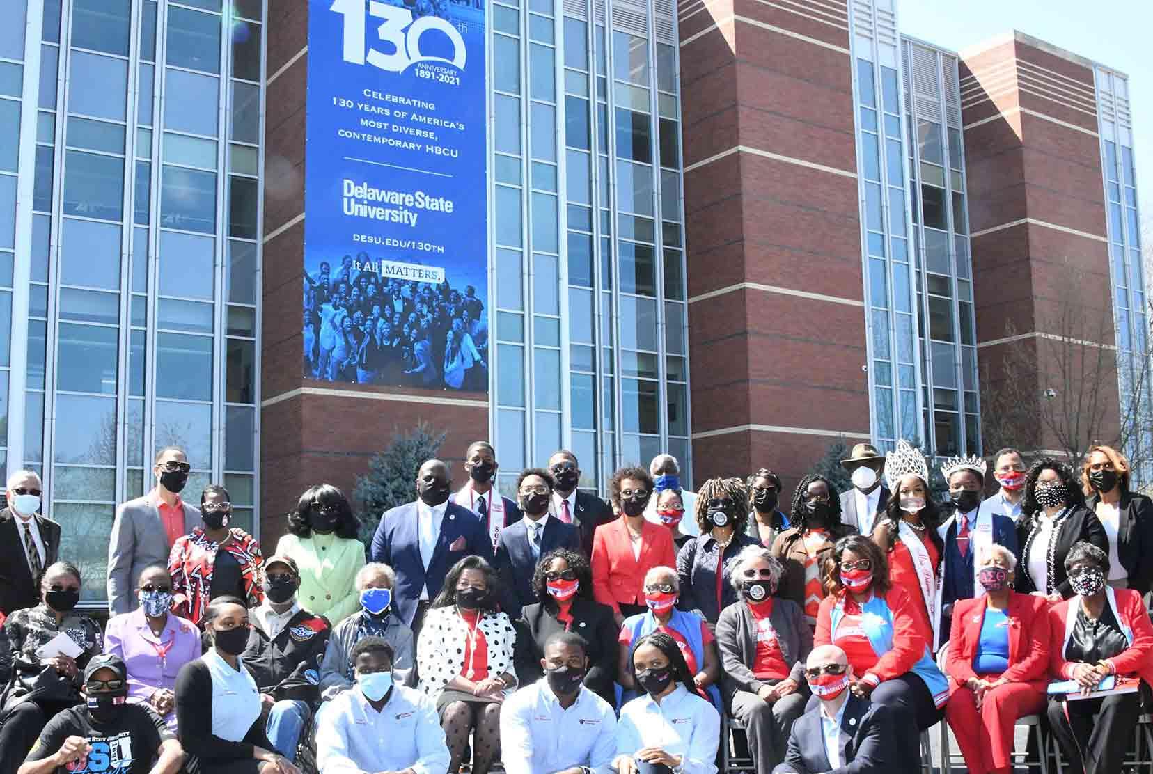 Del State celebrates 130th Anniversary banner