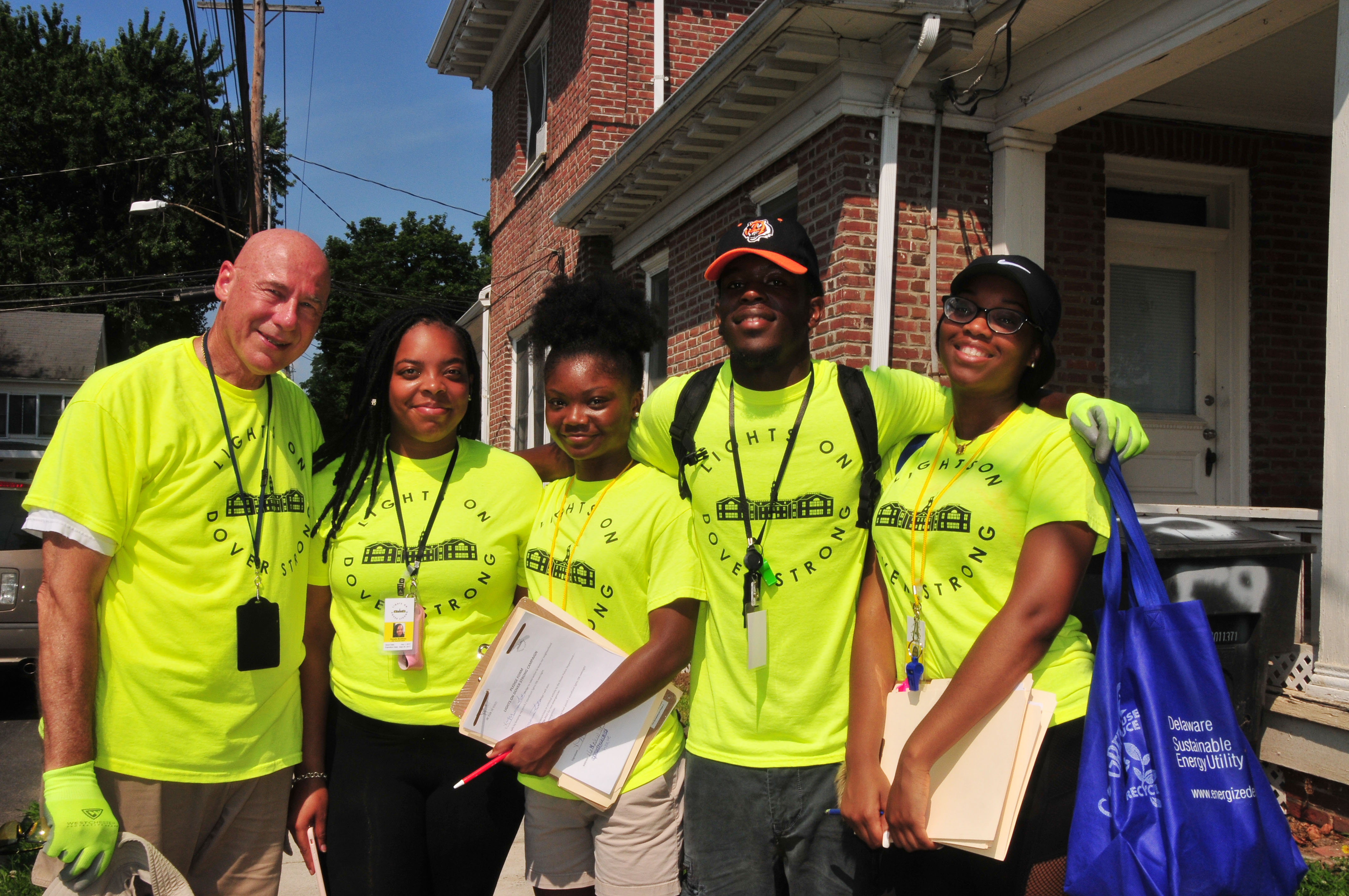 (L-r) Lights on Dover Strong Program team -- Charles Kistler, executive director of the HELP Initiative, with DSU students Danielle McAllister, Dashayna Brown, Eric Wright and Rich Kotter. The team is making a crime-challenged area of Dover safer.