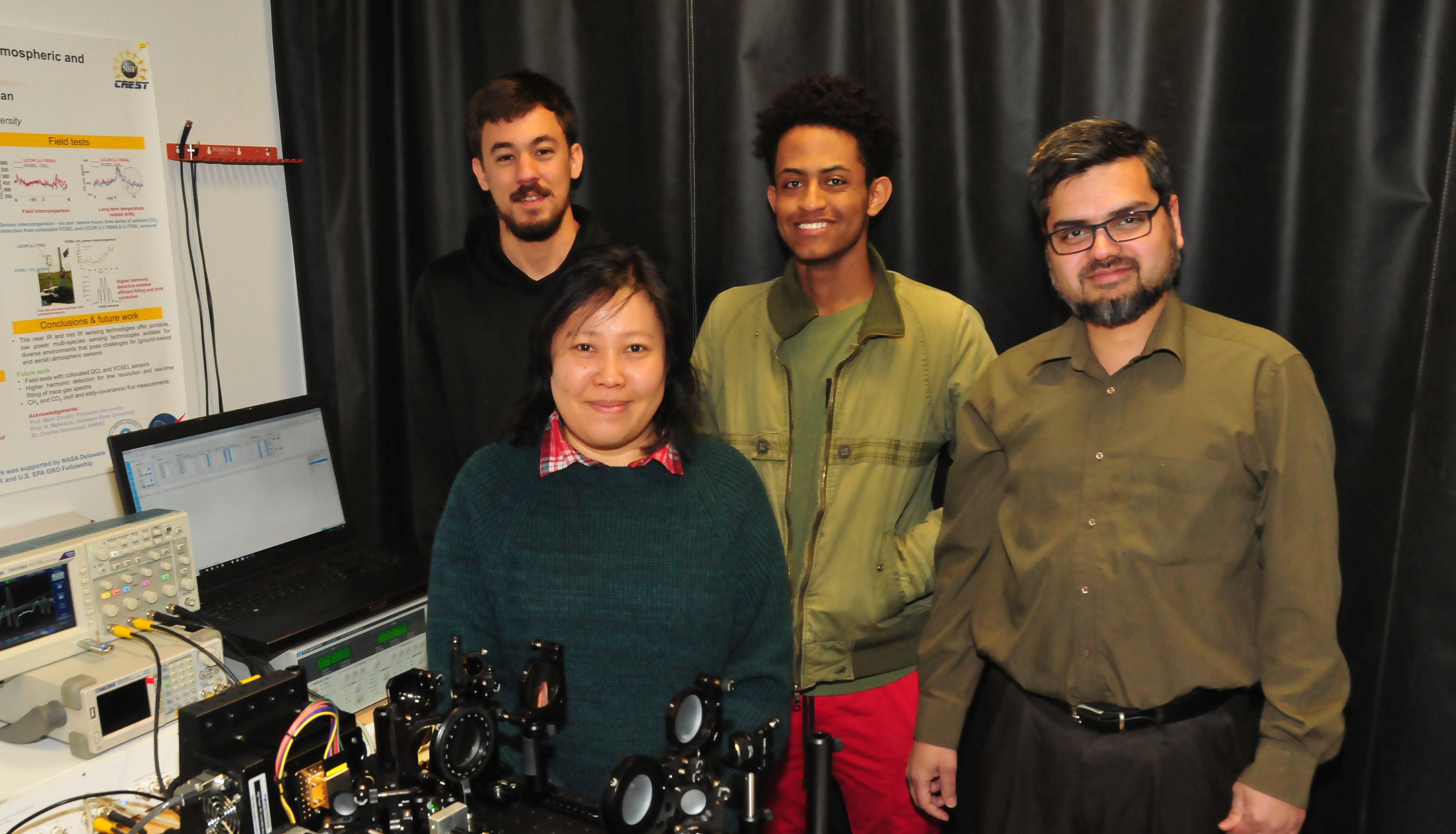 Chemical/Biological Warfare Sensor researchers: (l-r) Caio Azevedo, May Hlaing, Luil Menberu, and Dr. Mohammed Khan.