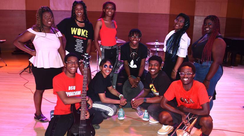 <p>Members of the DSU Popular Music Ensemble are: (kneeling l-r) Kamin Clark, Imani Sulleman, Issachar Scroggins and Glamu Kpov; (standing l-r) Chloe Humphrey, Aishah Bradley, Beauty Marsh, Davyn Parham, Nireh Traylor and Mozella Matthews.</p>